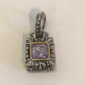 Gold & Silver & Purple Gem Square Necklace Charm
